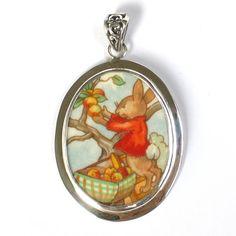 Broken China Jewelry Bunnykins Apple Peach Orchard Harvest Bunny Rabbit Sterling Pendant