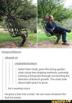 Urbanarboricultum: Amst Peter Cook, grew this living garden chair using tree shaping methods. primarily training a living tree through constricting the direction of branch growth. The chair took about eight years to grow. he's wearing crocs He grew a tree Stupid Funny Memes, Haha Funny, Hilarious, Funny Cute, Funny Stuff, Tsubaki Chou Lonely Planet, Excuse Moi, Funny Tumblr Posts, Really Funny
