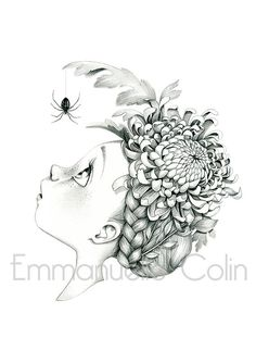 emmanuelle colin © Signed print of an original drawing in graphite on paper Approximate size Digital print on paper Lana 220 Art Drawings For Kids, Cartoon Drawings, Cute Drawings, Colouring Pics, Adult Coloring Pages, Coloring Books, Chrysanthemum, Surealism Art, Starry Night Art