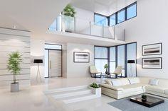 35 Amazing Interior Design Ideas For Modern Loft < moeshouse Dream Home Design, Modern House Design, Modern Houses, Modern Home Interior Design, Scandinavian Interior, Living Room Designs, Living Room Decor, Dining Room, White Houses