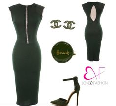 Sleeveless dress with gold front ring detail and slit backGreen sold out. Black only