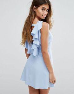 Платье-трапеция с открытой спиной и оборками Boohoo