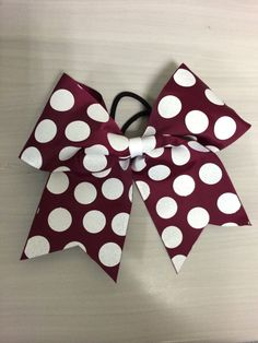 Maroon Cheer bow with White Polka Dots by ThosebowsbyLo on Etsy, $6.00