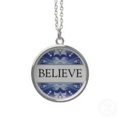 Inspirational Word - BELIEVE Pendant necklace