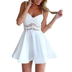 5d6a28020a2137 Minetom Damen Sexy Sommerkleid kurz Ärmellos V-Ausschnitt Spitze Spleiß  strandkleider Rock Partykleid Cocktaikleid: Amazon.de: Bekleidung