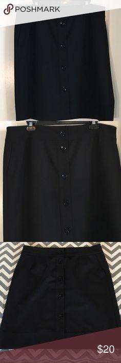 "Plus Size ~ Ann Taylor Black Skirt Plus Size ~ Ann Taylor Black Skirt With Pockets ~ Size 16 ~ Waist is approximately 19"" ~ Length is approximately 23"" ~ 68% Polyester, 29% Rayon & 3% Spandex Ann Taylor Skirts"