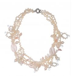 Fresh water Pearl with Pink Jade & Crystal Beads Short Necklace at Saintchristine.com