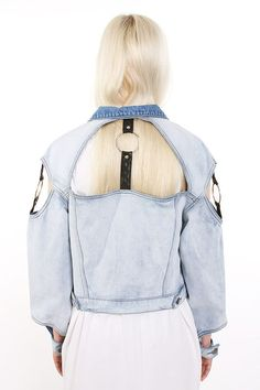 Bitching and Junkfood's Clemente denim jacket is made from a blend of cotton and vegan leather materials. The label updates a classic jean jacket look with cutout accents that are infused with harness details.