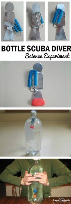 Bottle Diver Science Experiment Steps - Kids will have fun making the diver move up and down in the bottle.