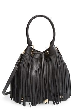 Milly 'Essex' Fringed Leather Bucket Bag available at #Nordstrom