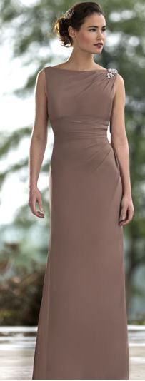 M561. High neck chiffon latte coloured dress with diamante detailing on shoulder