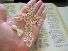Tatted-Cross-Bible-Bookmark-Handmade-Lace-Tatting-Ecru-50-crochet-thread