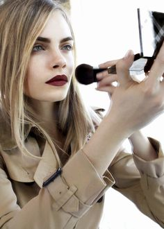 matte lips & bold brows ~Burberry Beauty Lip Velvet - Cara Delevingne Behind The Scenes Cara Delevingne, Cara Delevigne Style, Matte Red Lips, Dark Red Lips, Burgundy Lipstick, Velvet Lipstick, All Things Beauty, Beauty Make Up, Hair Beauty