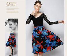European Street Style Floral Pattern Long High Waist Skirt