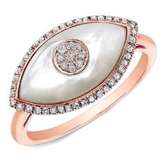 Anne Sisteron  14KT Rose Gold White Mother of Pearl Diamond Evil Eye... ($1,085) ❤ liked on Polyvore featuring jewelry, rings, white, diamond jewellery, pink white gold ring, diamond rings, red gold ring and evil eye jewelry