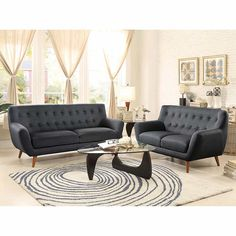 8312 Anke Collection Living Room Set by Homelegance Small Space Living Room, Living Room Sets, Fabric Sofa, Grey Fabric, Sofa And Loveseat Set, Classic Living Room, Contemporary Sofa, Love Seat, Modern