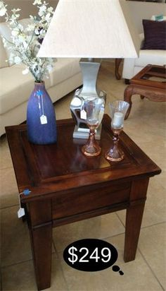 Rich rustic cherry finish end table.Quality heavy piece.  Yesterdays Treasures Consignment  5829 Lone Tree Way Suite J  Antioch 925 - 233- 4549www.Yesterdayststore.com  Info@yesterdayststore.com