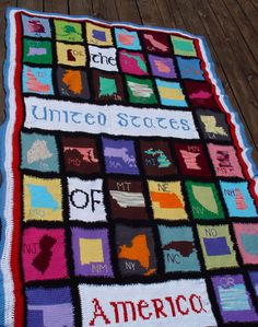 The United States of America crocheted afghan top part