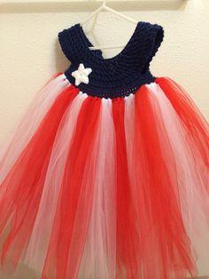 2T to 4T Hand crochet patriotic tutu top dress  by cornonthemonkey, $32.00