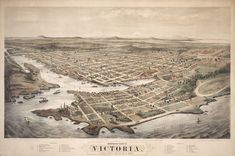 8 x 12 Reproduced Photo of Vintage Old Perspective Birds Eye View Map or Drawing of: Bird's-eye Victoria, Vancouver Island, B. Glover, E. (Eli Sheldon) - A. Bancroft & Company - Waitt (M. - Glover, E. Map Of Victoria, Victoria Bc Canada, Victoria British Columbia, Victoria Vancouver Island, Birds Eye View Map, Cities, Canadian History, Old Maps, Vintage Maps