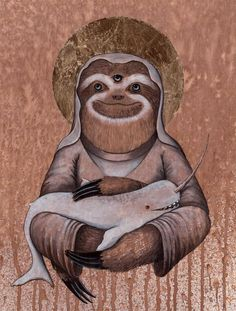 The Holy Sloth and Other Mystical Animals by Shwa Keirstead Sloth Tattoo, Alpacas, Mystical Animals, Amazing Art, Amazing Things, Cool Art, Whimsical, Illustration Art, Chamber Of Secrets