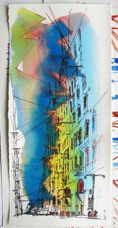 Una calle, recordando Nápoles. Punta de bambú, papel 400 gr., acuarela líquida.