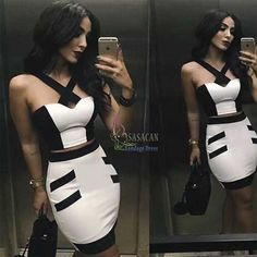 Brand New Solid Nude Sexy Black and white cross HL 2 Piece Bandage Dress  2015 Knitted Bodycon Elegant Party Dress-in Dresses from Women's Clothing & Accessories on Aliexpress.com | Alibaba Group