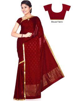 Maroon Pure Mysore Silk Saree