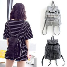 d8deb9562a Women Small Mini Faux Leather Backpack Rucksack Travel Casual Purse Cute  Gift