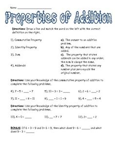 Addition Properties Sort Free - great for Interactive Notebook ...