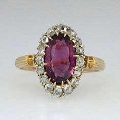 Rare English Georgian Rose Cut Diamond Halo Amethyst Ring 9k | Antique and Estate Rings | Jewelry Finds SOLD: 8/21/14 $1850