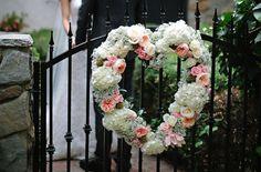 Garden rose and babys breath wedding wreath