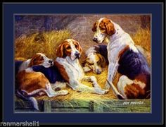 English-Print-Fox-Hound-Dogs-Art-Picture