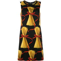 Dolce & Gabbana patterned shift dress (€1.705) ❤ liked on Polyvore featuring dresses, black, round neck sleeveless dress, dolce gabbana dress, multi color dress, print dresses and multi colored dress