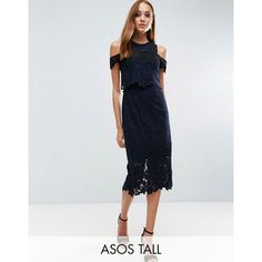 ASOS TALL Crop Top Cold Shoulder Midi Dress ($68) ❤ liked on Polyvore featuring dresses, navy, cold shoulder dresses, navy blue dress, navy cocktail dresses, cold shoulder cocktail dress and lace midi dress