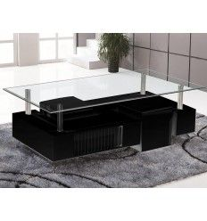 Table basse relevable newport avec 2 poufs coloris blanc noir salon - Table basse pouf integre ...