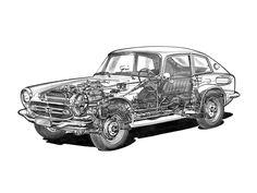 1966-68 Honda S800 Coupe - Illustrator unknown Honda S, Technical Drawing, Cutaway, Line Art, Illustrators, Technical Illustrations, Bike, Cars, Retro
