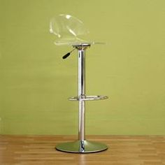 This Megan Bar Stool is constructed of clear acrylic and chromed steel. It features rotating seat and an adjustable footstool. This modern piece is completed by an adjustable hydraulic lift for seat height adjustment. Kitchen Seating, Kitchen Stools, Counter Stools, Desk Lamp, Table Lamp, Contemporary Bar, Swivel Bar Stools, Clear Acrylic, Kitchens