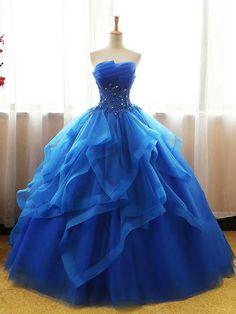 Chic Ball Gowns Royal Blue Strapless Modest Long Prom Dress Evening Dress AM777