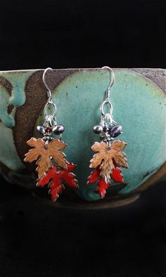 Garnished Leaf Earring | Spitfire Designs-Hand-painted glass earrings with freshwater pearls and Garnets.  Sterling.  #Leaves #LeaveEarrings #HandmadeJewelry #SpitfireDesignsJewelry