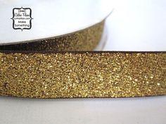 Gold Glitter Ribbon - 5 yards - Metallic Sparkle Glitter - Brown Fall - 5/8 wide