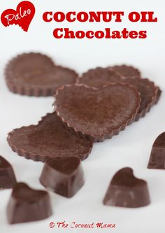 Coconut Oil Uses - Coconut Oil Chocolate Hearts - The Coconut Mama 9 Reasons to Use Coconut Oil Daily Coconut Oil Will Set You Free — and Improve Your Health!Coconut Oil Fuels Your Metabolism! Coconut Oil Uses, Coconut Flour, Baking With Coconut Oil, Candy Recipes, Real Food Recipes, Food Tips, Paleo Dessert, Dessert Recipes, Dessert Ideas