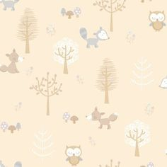 Brewster Forest Friends Animal Wallpaper Taupe - 2679-002108