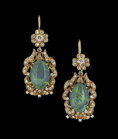 14 Kt. Gold, Opal and Diamond Dangle Earrings : Lot 974