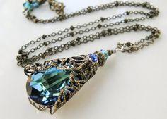 New w/Swarovski Bermuda Blue Crystal Teardrop Filigree Pendant Necklace Blue Crystals, Swarovski Crystals, Silver Chain Necklace, Pendant Necklace, Antique Jewelry, Vintage Jewelry, Fashion Jewelry, Women Jewelry, Teardrop Necklace