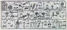 The Dongba symbols are an ancient system of pictographic glyphs created by the founder of the Bön religious tradition of Tibet and used by the Naxi people in southern China. Ancient Scripts, English Dictionaries, Cyberpunk Art, My Bible, Ancient Egypt, Survival, Symbols, Culture, Writing
