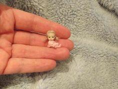 Miniature handmade MINI TINY TOY BABY GIRL DOLLY ooak DOLLHOUSE ART DOLL HOUSE