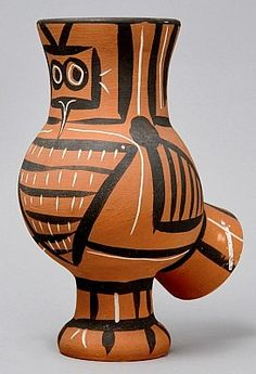 Chouette Mate (Mat wood-owl), 1958 by Pablo Picasso, a Madoura white earthenware clay turned pitcher with decoration in engobes (red, black), knife engraved with glaze inside. Masterworks Fine Art