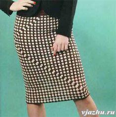 Двухцветная пряма юбка, связанная крючком из квадрата. Описание вязания и схема.