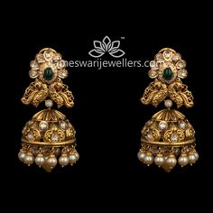 Gold Jhumka Earrings, Indian Jewelry Earrings, Buy Earrings, Jewelry Design Earrings, Gold Earrings Designs, Earrings Online, Gold Haram Designs, Emerald Earrings, Gold Necklace